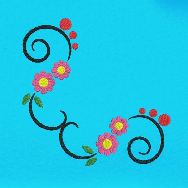 Motif de broderie machine fleurs arabesques 2