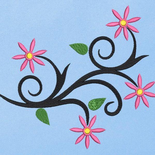 Motif de broderie machine fleurs arabesques 3