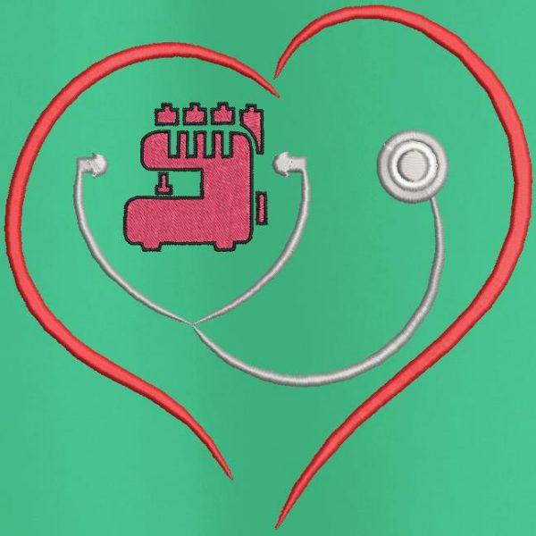 les brodeuses et brodeurs machine soutiennent les soignants logo . Motif de broderie machine gratuit .