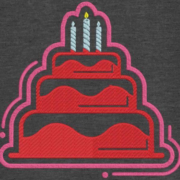 Motif de broderie machine gâteau d'anniversaire 4.