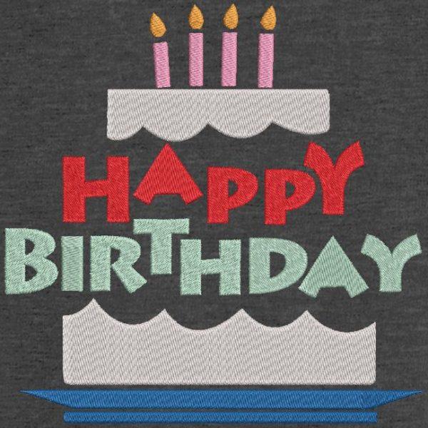 Motif de broderie machine gâteau d'anniversaire 7.