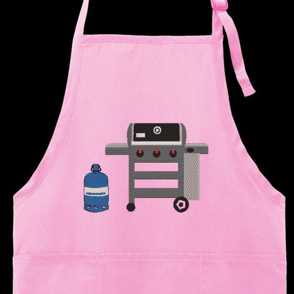 Motif de broderie machine d'un barbecue a gaz avec sa bouteille de gaz butane