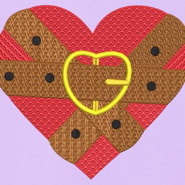Motif de broderie machine d'une ceinture couleur chocolat