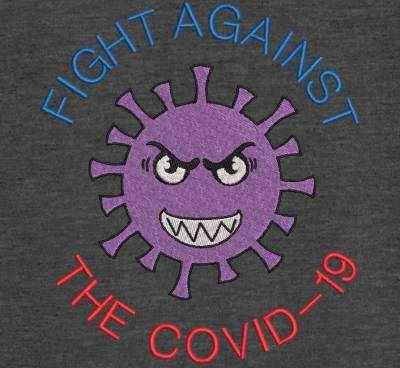 fight against the covid 19 embroidery design