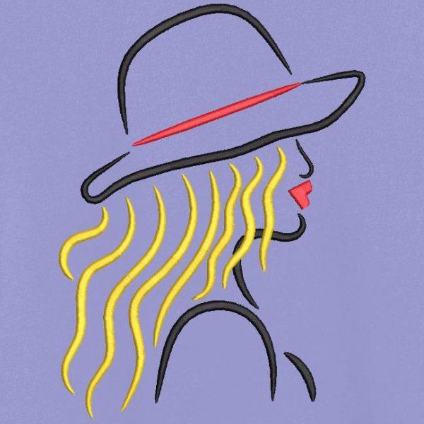 Motif de broderie machine collection élégante avec un chapeau 1