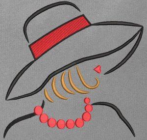 Motif de broderie machine collection élégante avec un chapeau