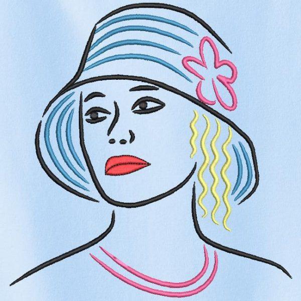 Motif de broderie machine collection élégante avec un chapeau 3