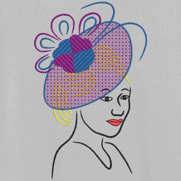 Motif de broderie machine collection élégante avec un chapeau 4