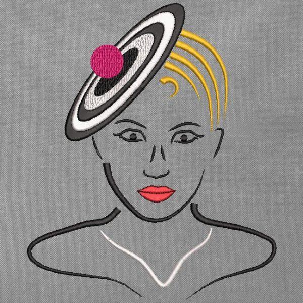 Motif de broderie machine collection élégante avec un chapeau 5