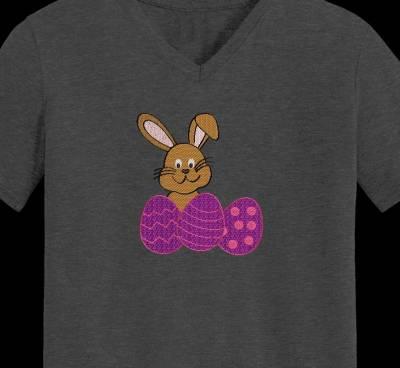 lapin et œufs de pâques motif de broderie machine