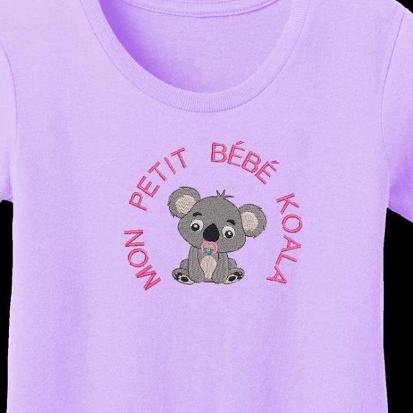 Motif de broderie machine mon petit bébé Koala avec le texte