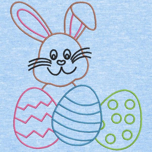 lapin et œufs de pâques redwork motif de broderie machine
