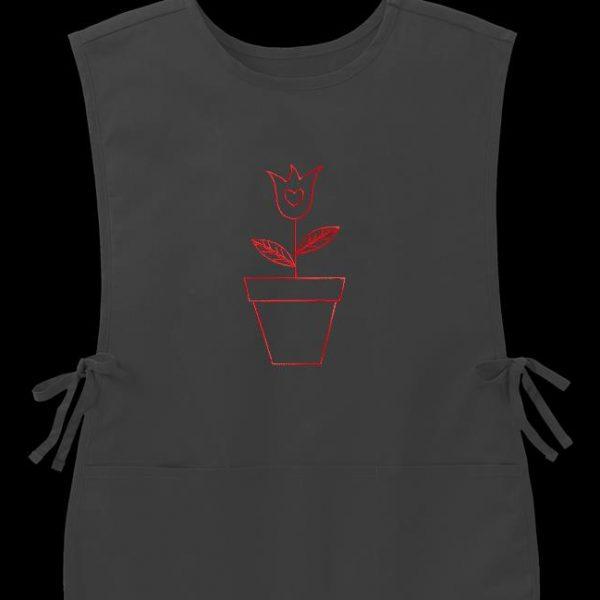 Motif de broderie machine redwork d'une tulipe dans un pot