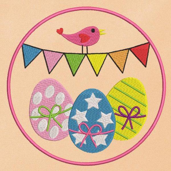 motif de broderie machine oiseau et œufs de pâques appliqué