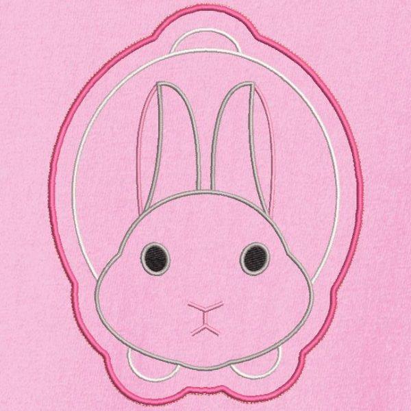 Motif de broderie machine d'un lapin en appliqué