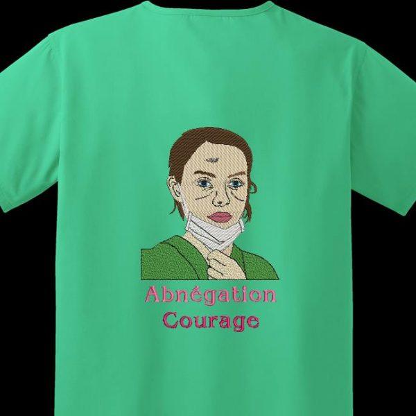 Motif de broderie machine Abnégation et courage qui représente une infirmière ou une aide soignante