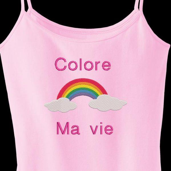 """Motif de broderie machine d'un arc en ciel posé sur deux nuages avec le texte """"colore ma vie"""""""