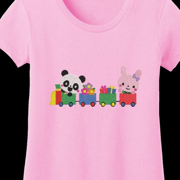 Motif de broderie machine d'un panda et son petit train