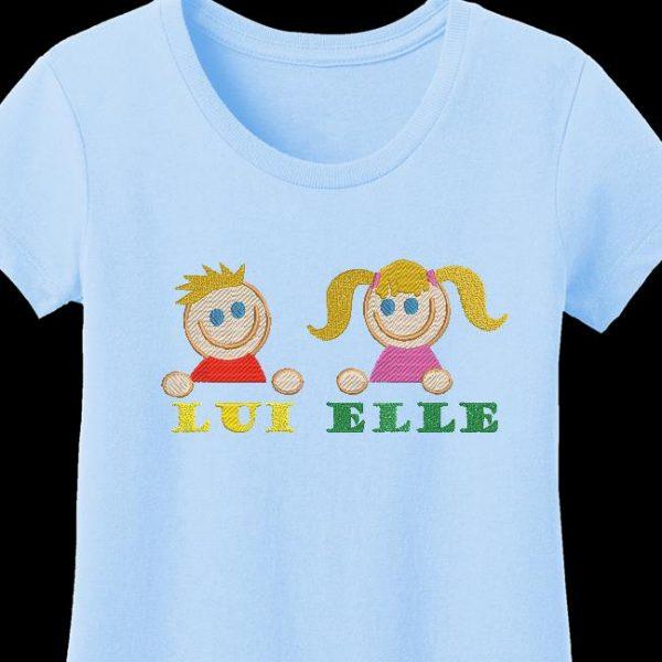 Motif de broderie machine elle et lui qui représente une fille et un petit garçon . Motif pour cadeau de naissance ou création destinée aux enfants ou aux bébés.