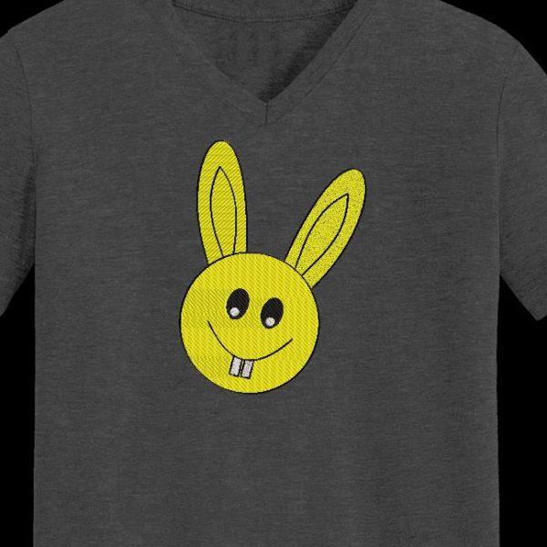 Motif de broderie machine d'un lapin en forme d'émoticône