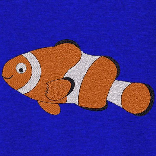 Motif de broderie machine d'un poisson clown
