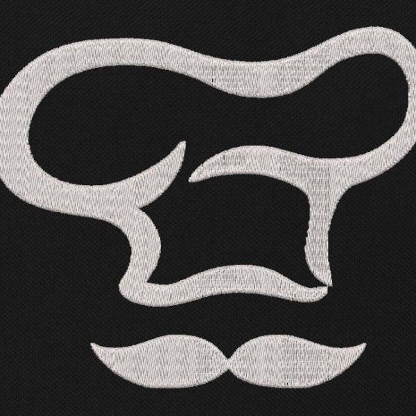 Motif de broderie machine toque et moustache de cuisinier