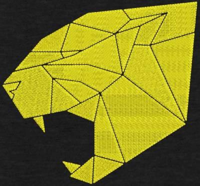 Motif de broderie machine d'une tête de cougar géométrique.