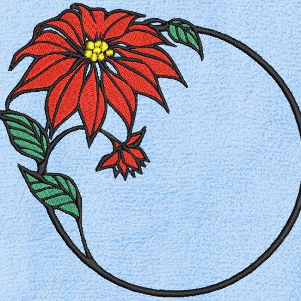 Motif de broderie machine décoratif anneau fleuri.