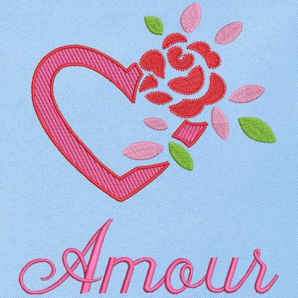 Motif de broderie machine cœur et rose amour .