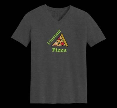 Motif de broderie machine l'instant pizza.qui représente une part de pizza