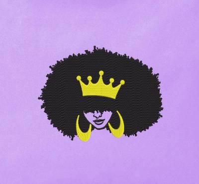 Motif de broderie machine d'une femme afro rétro vintage 3.