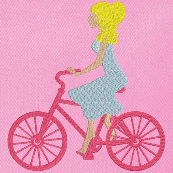 Motif de broderie machine balade à vélo .