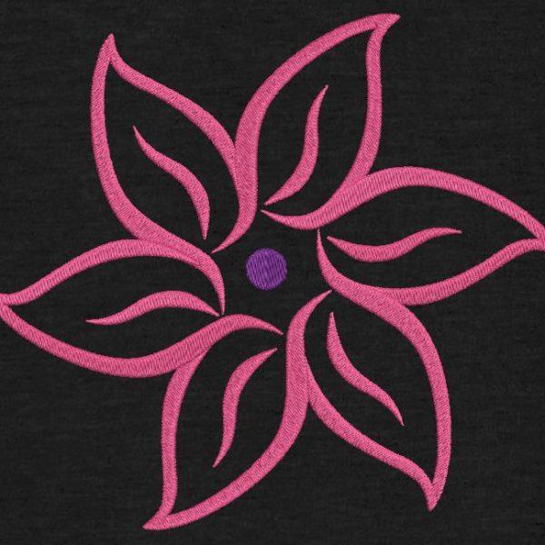 Motif de broderie machine fleur en arabesques.