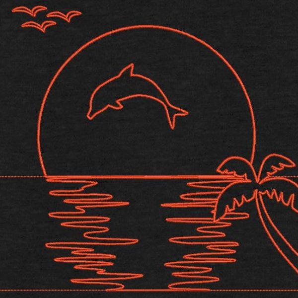 Motif de broderie machine dauphin et joli coucher de soleil redwork ,avec un dauphin et un cocotier.