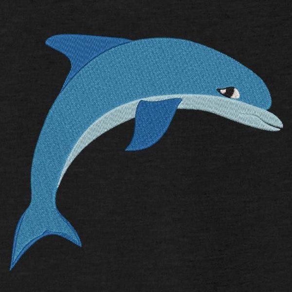 Motif de broderie machine d'un joli dauphin bleu.