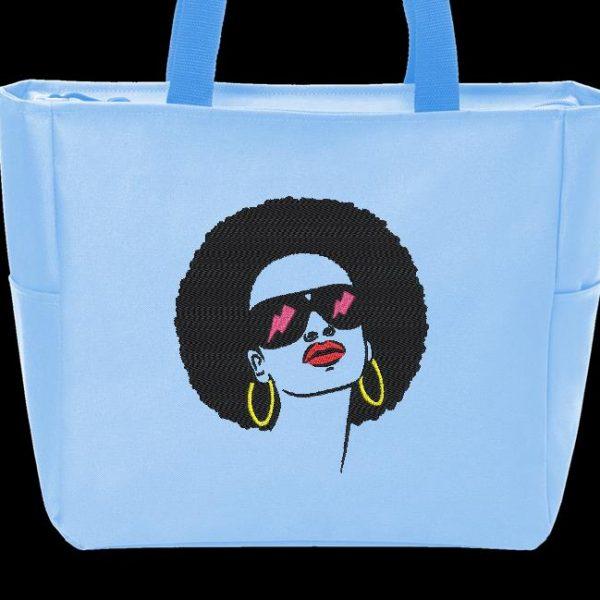 Motif de broderie machine d'une femme afro rétro vintage 6.
