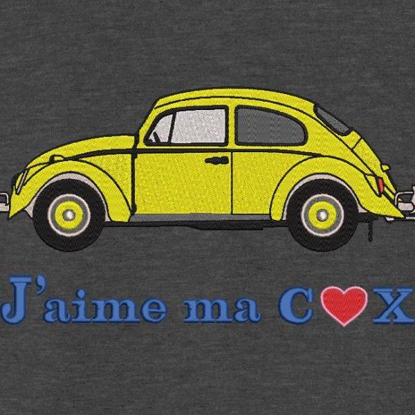 Motif de broderie machine j'aime ma cox. j'aime ma Volkswagen coccinelle