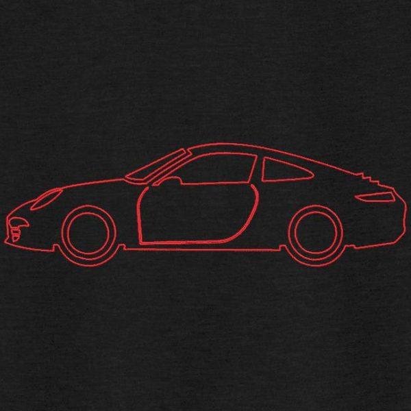Motif de broderie machine d'une voiture de sport redwork.