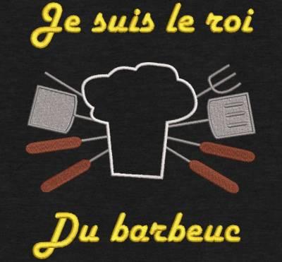 Motif de broderie machine roi du barbeuc. barbecue