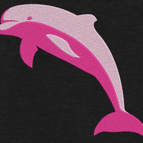 Motif de broderie machine d'un dauphin rose.