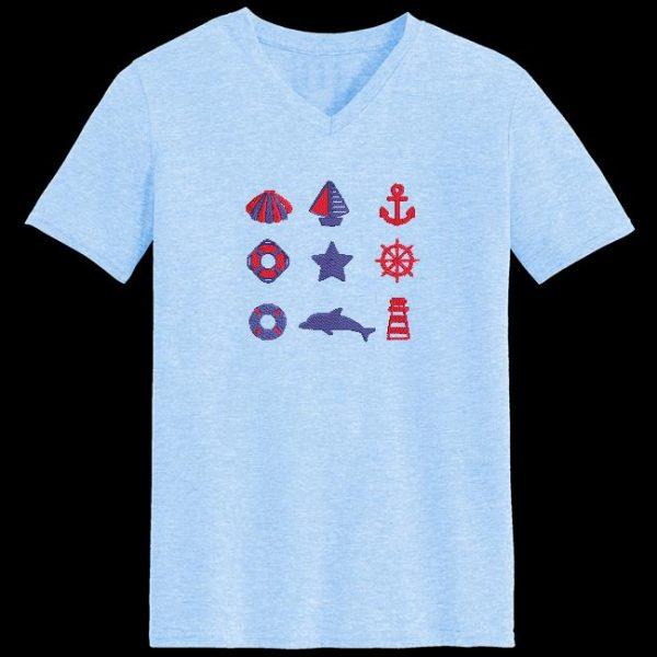 Motif de broderie machine esprit nautique 3. composé d'un coquillage , un voilier, une ancre de marine,un phare,une étoile,un dauphin ,une bouée et une barre de navire.