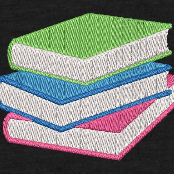 Motif de broderie machine livres empilés.