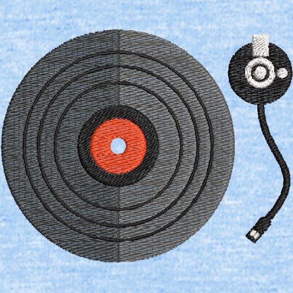 Motif de broderie machine vinyle platine disque.