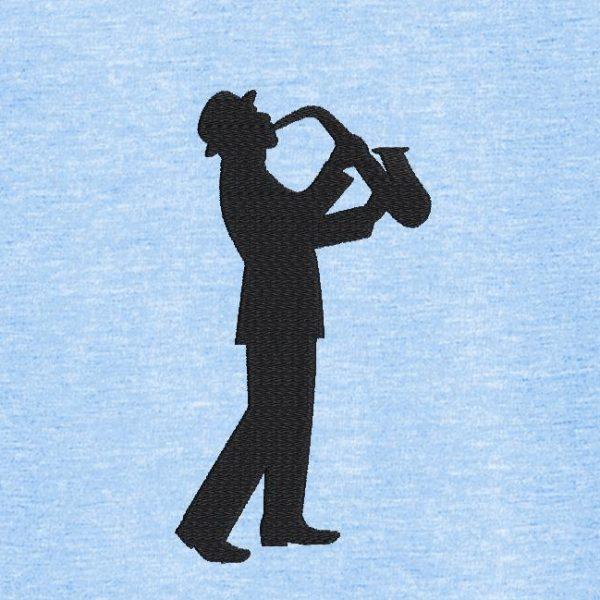 Motif de broderie machine de la silhouette d'un saxophoniste.
