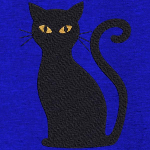Motif de broderie machine chat noir Halloween.