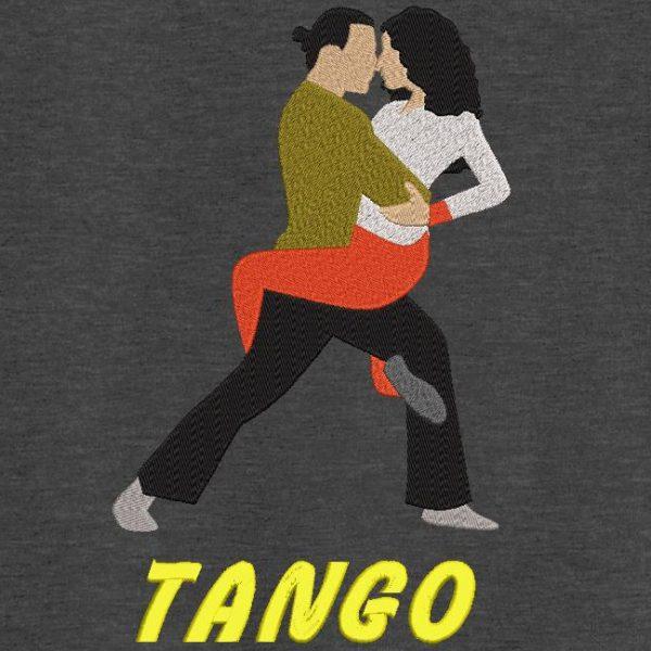 Motif de broderie machine danseurs de tango avec texte.