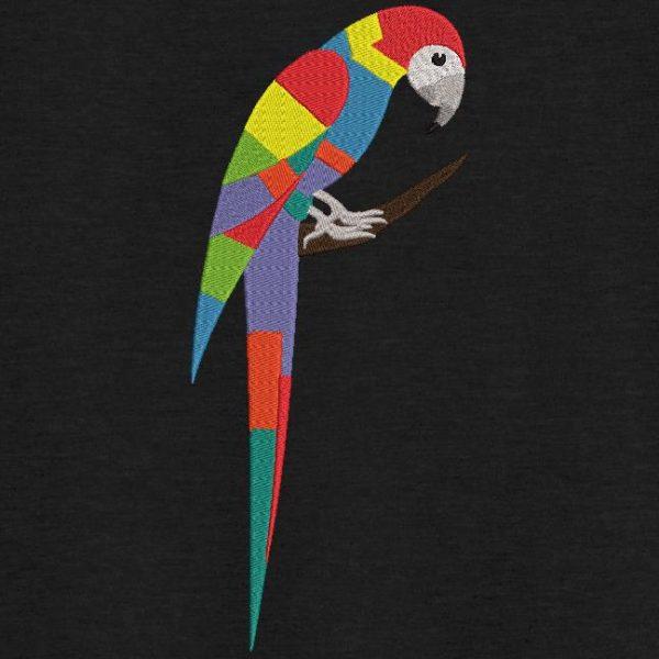 Motif de broderie machine d'un joli perroquet coloré.