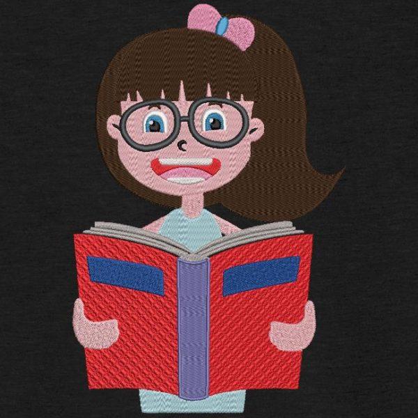 Motif de broderie machine d'une jolie écolière avec des lunettes qui tient un livre.
