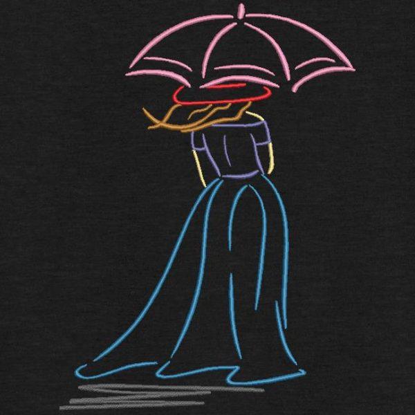 Motif de broderie machine femme au parapluie.
