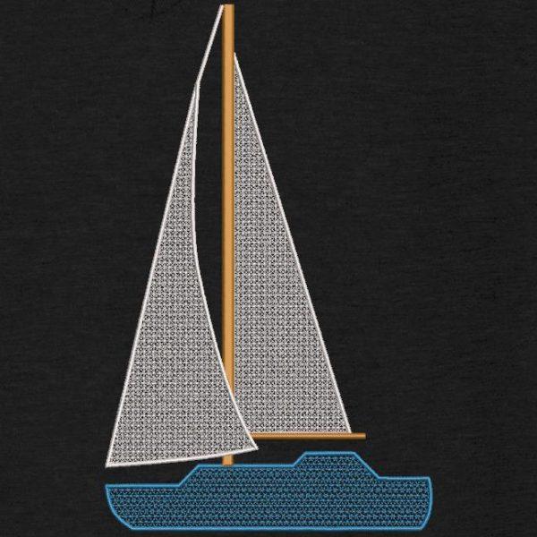 Motif de broderie machine d'un voilier bleu.